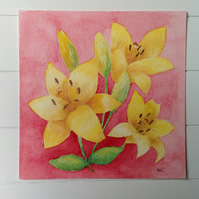 SALE! Folk Flowers - Yellow Lilies original painting
