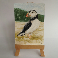 ACEO Puffin original watercolour