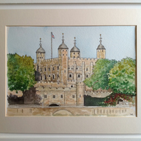 Tower of London original watercolour painting