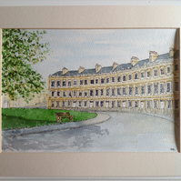 Bath, The Circus original watercolour painting