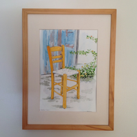 The wooden chair original watercolour painting