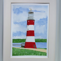 Smeaton's Tower, Plymouth Hoe lighthouse original watercolour