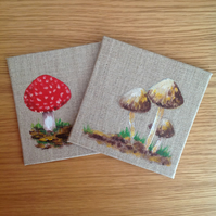 Hand painted pair of Autumn coasters