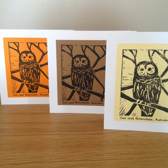 Owl and Branches, Autumn blank cards set of 3