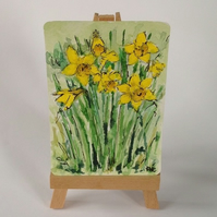 Daffodils in Rutland ACEO original watercolour and ink