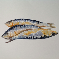 Three Fish original watercolour
