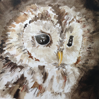 The Owl original watercolour painting