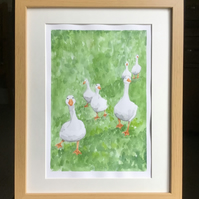 Six Geese original watercolour painting