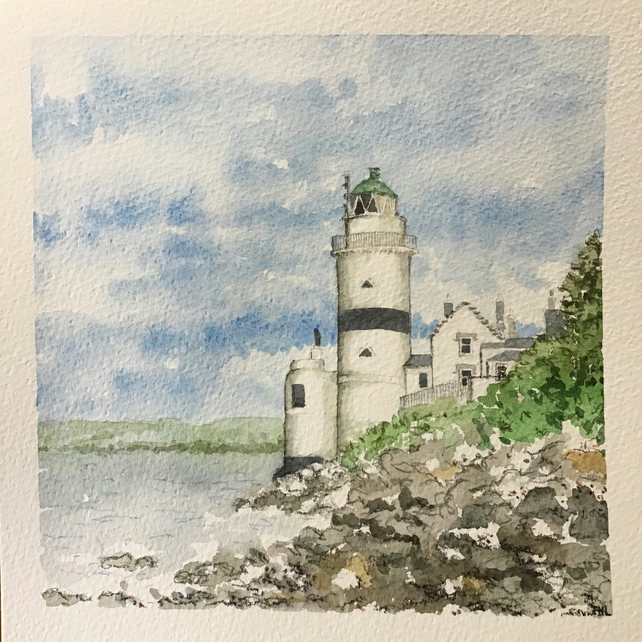 Cloch Lighthouse, Scotland original watercolour