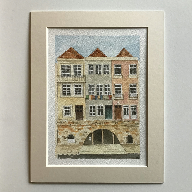 Ribeira Porto Portugal original watercolour painting