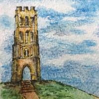 ACEO Glastonbury Tor original watercolour and ink miniature painting