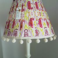 Pleated lampshade with pompoms