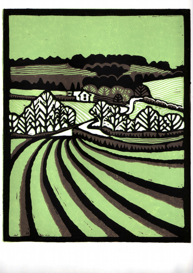 Suffolk Landscape Lino Print Green And Brown Folksy