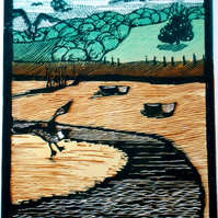 'Martlesham Creek, Tide Out'. Linocut