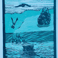 Martlesham Creek, Tide In.  Linocut