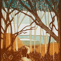 Orwell Country Park. Linocut. Couple walking dog.