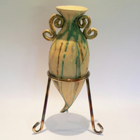 Stoneware Ceramics Pottery Amphora with Metal Stand