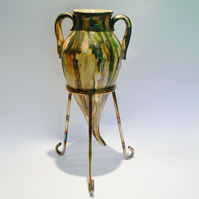 Ceramic Pottery Amhpora Vase with Metal Stand