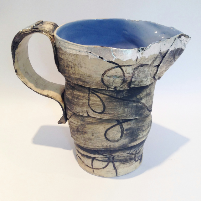 Blue Ceramic Jug with Silver Leaf