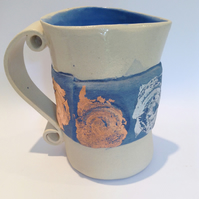 Ceramic Pottery Jug with Metal Leaf