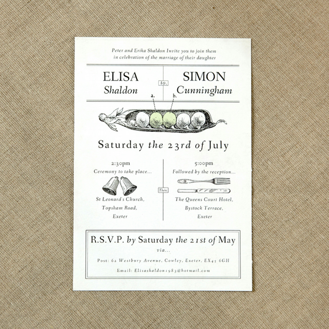 Two Peas Vintage Wedding Invitation