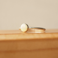 Opal Ring and Sterling Silver Stacking Birthstone Ring