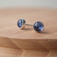 Iolite and Silver Studs