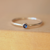 Sapphire and Sterling Silver Ring with small gemstone
