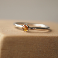 Citrine and Silver ring with small stone
