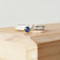 Sapphire and Moonstone Double Ring Set. Sterling Silver Gemstone Rings