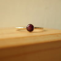 Ruby and Silver Ring with Rosecut Cabochon