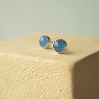 Blue Agate Stud Earrings in Sterling Silver
