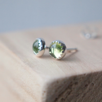 Peridot Silver Stud  Earrings