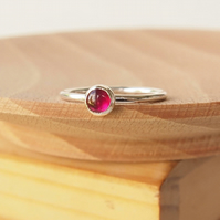 July Birthstone Ring - Lab Ruby Cabochon RIng