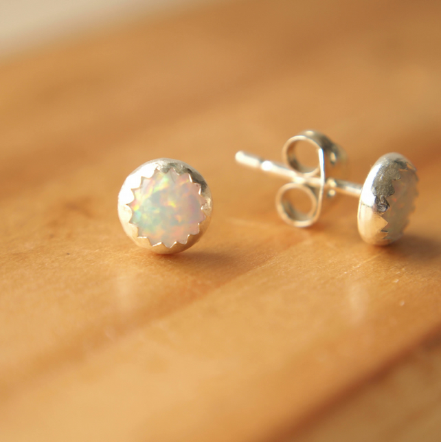 Sterling Silver White Opal Studs Lab