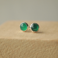 Green Agate and Silver Stud Earrings - May Birthstone
