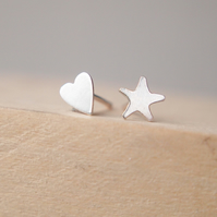 Silver and Heart Mismatched Stud Earrings