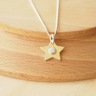 Opal Star Necklace in Sterling Silver