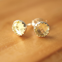 Yellow Quartz Stud Earrings