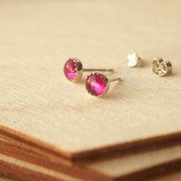 Lab Ruby Stud Earrings