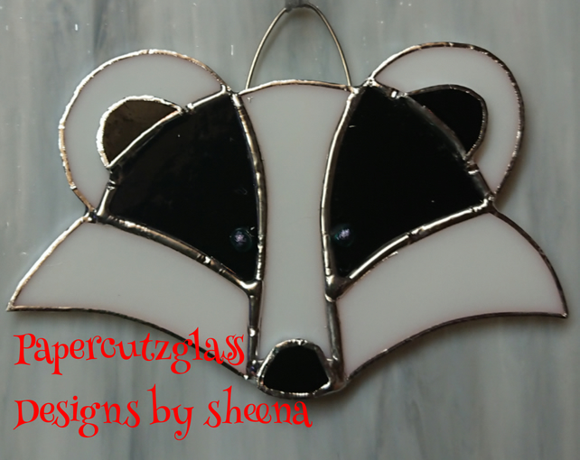 Stained glass badger suncatcher