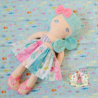 17inch CE tested handmade plush hair mermaid doll
