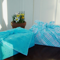 Brighten up with blue! furoshiki (fabric wraps)