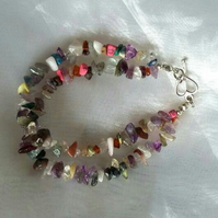 Double Strand Mixed Gemstone Chip Bracelet