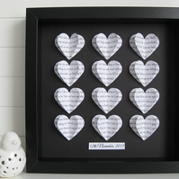 Personalised Frame Wedding Gift - Custom Word Hearts - Song Lyric Art Keepsake