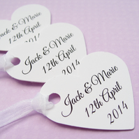 50 Personalised Custom Heart Tags - Wedding, Wishing Tree, Favors, Table Decor