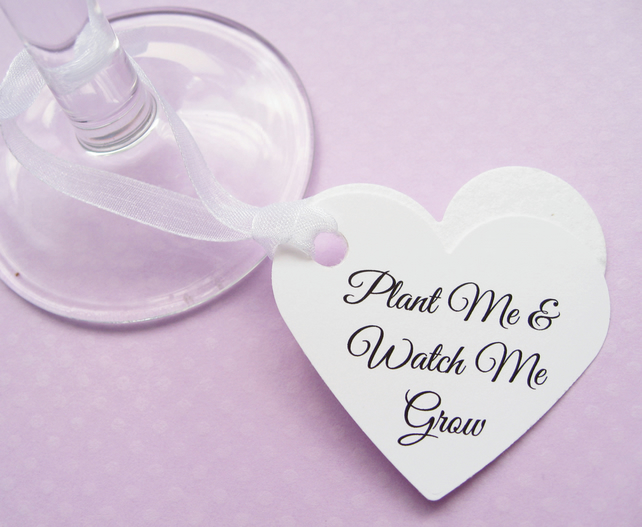 10 Personalised Heart Seed Tags - Custom Tags - Wedding, Favours, Table Decor