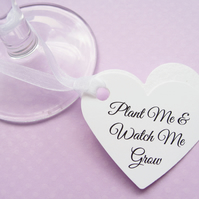 25 Personalised Heart Seed Tags - Custom Tags - Wedding, Favours, Table Decor