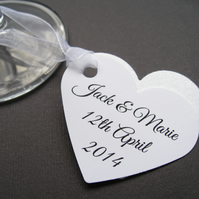 40 Personalised Heart Seed Tags - Custom Tags - Wedding, Favours, Table Decor