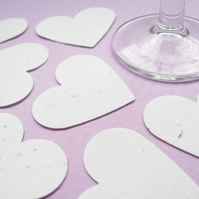 10 x 2 inch White Plantable Seed Hearts - Flower Seed - Wedding Favours